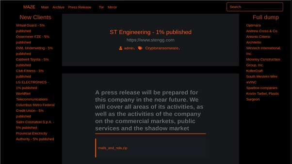 Maze Ransomware's Website